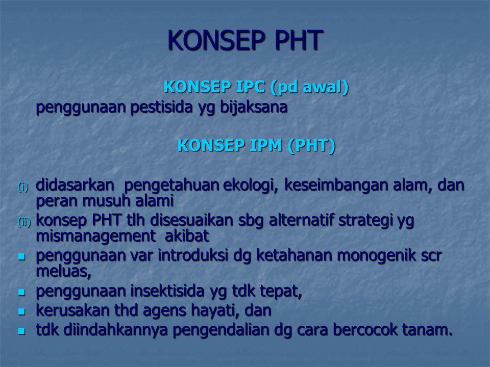 KONSEP PHT KONSEP IPC (pd awal) penggunaan pestisida yg bijaksana KONSEP IPM (PHT) (i) d idasarkan pengetahuan ekologi, keseimbangan alam, dan peran m