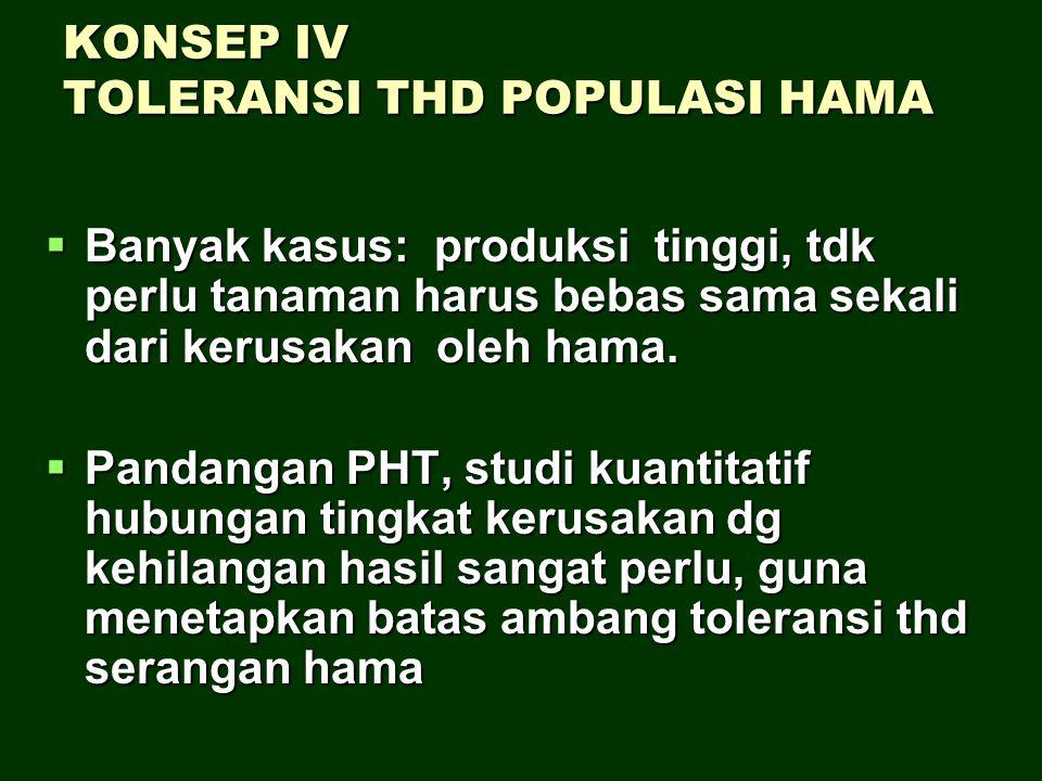 KONSEP IV TOLERANSI THD POPULASI HAMA BBBBanyak kasus: produksi tinggi, tdk perlu tanaman harus bebas sama sekali dari kerusakan oleh hama. PPP