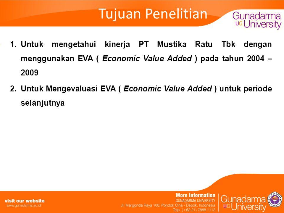 Tujuan Penelitian 1.Untuk mengetahui kinerja PT Mustika Ratu Tbk dengan menggunakan EVA ( Economic Value Added ) pada tahun 2004 – 2009 2.Untuk Mengev