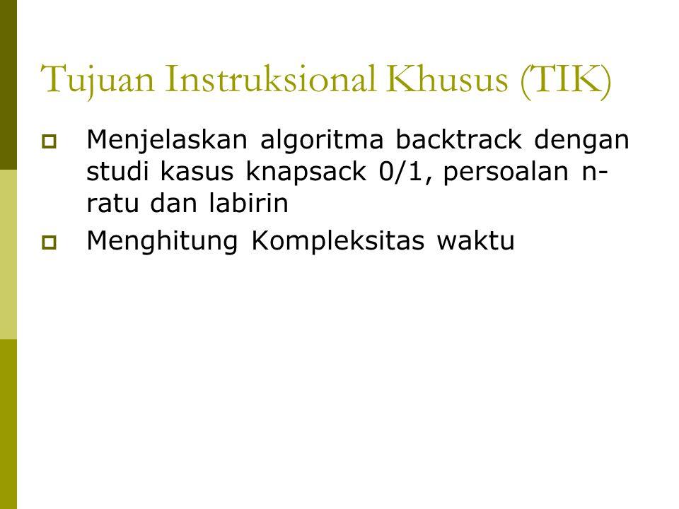 Pendahuluan  Runut-balik (backtracking) adalah algoritma yang berbasis pada DFS untuk mencari solusi persoalan secara lebih mangkus.