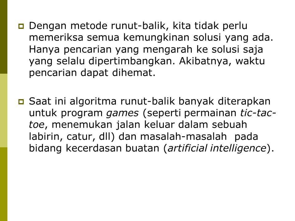 (b) Versi rekursif Algoritma:  Inisialisasi x[1], x[2], …, x[N] dengan 0 for iN to n do x[i]0 endfor  Panggil prosedur N_RATU_R(1)