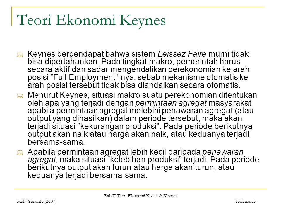 Bab II Teori Ekonomi Klasik & Keynes Muh. Yunanto (2007) Halaman 5 Teori Ekonomi Keynes  Keynes berpendapat bahwa sistem Leissez Faire murni tidak bi