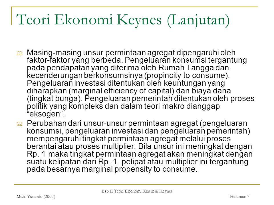 Bab II Teori Ekonomi Klasik & Keynes Muh. Yunanto (2007) Halaman 7 Teori Ekonomi Keynes (Lanjutan)  Masing-masing unsur permintaan agregat dipengaruh