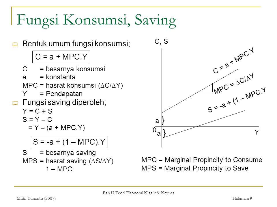 Bab II Teori Ekonomi Klasik & Keynes Muh. Yunanto (2007) Halaman 9 Fungsi Konsumsi, Saving  Bentuk umum fungsi konsumsi; C= besarnya konsumsi a= kons