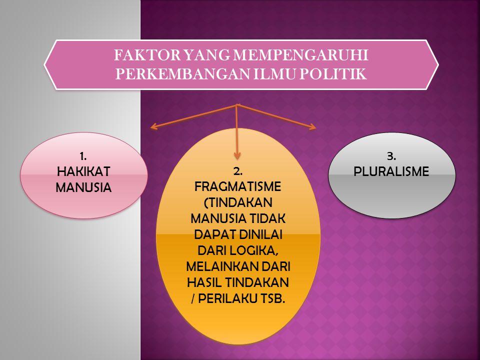 FAKTOR YANG MEMPENGARUHI PERKEMBANGAN ILMU POLITIK 1.
