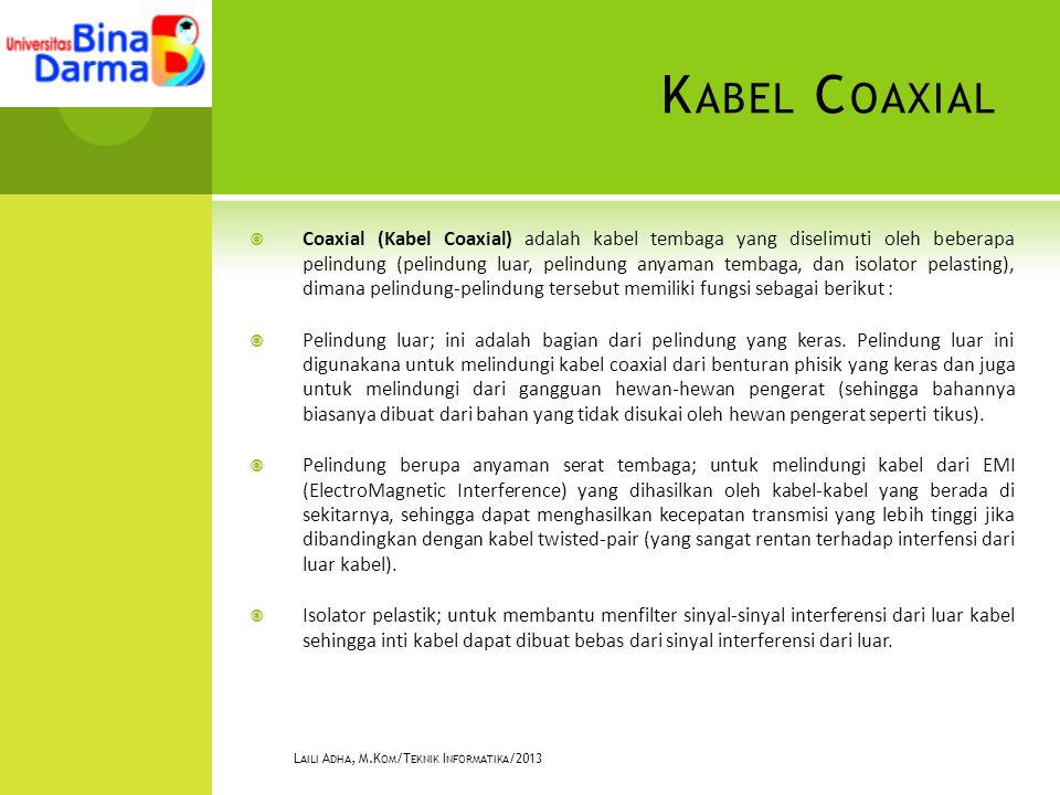 K ABEL C OAXIAL  Coaxial (Kabel Coaxial) adalah kabel tembaga yang diselimuti oleh beberapa pelindung (pelindung luar, pelindung anyaman tembaga, dan isolator pelasting), dimana pelindung-pelindung tersebut memiliki fungsi sebagai berikut :  Pelindung luar; ini adalah bagian dari pelindung yang keras.