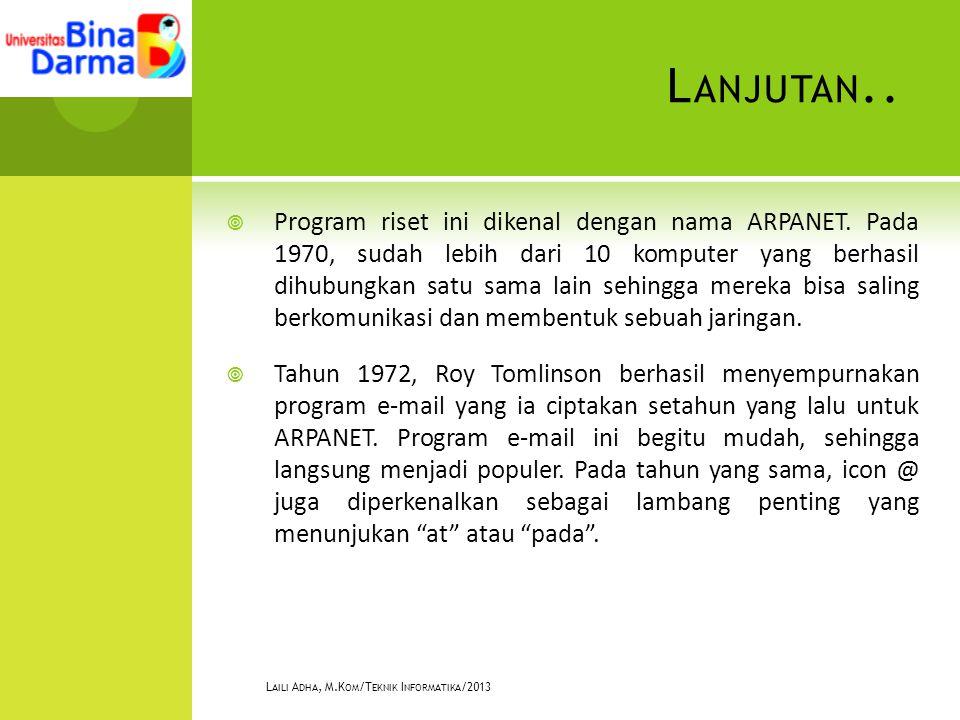 L ANJUTAN..  Program riset ini dikenal dengan nama ARPANET.
