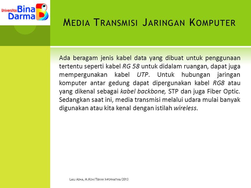 M EDIA T RANSMISI J ARINGAN K OMPUTER Ada beragam jenis kabel data yang dibuat untuk penggunaan tertentu seperti kabel RG 58 untuk didalam ruangan, dapat juga mempergunakan kabel UTP.