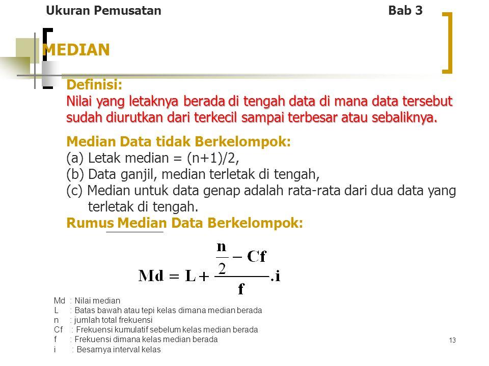 13 MEDIAN Ukuran Pemusatan Bab 3 Definisi: Nilai yang letaknya berada di tengah data di mana data tersebut sudah diurutkan dari terkecil sampai terbes