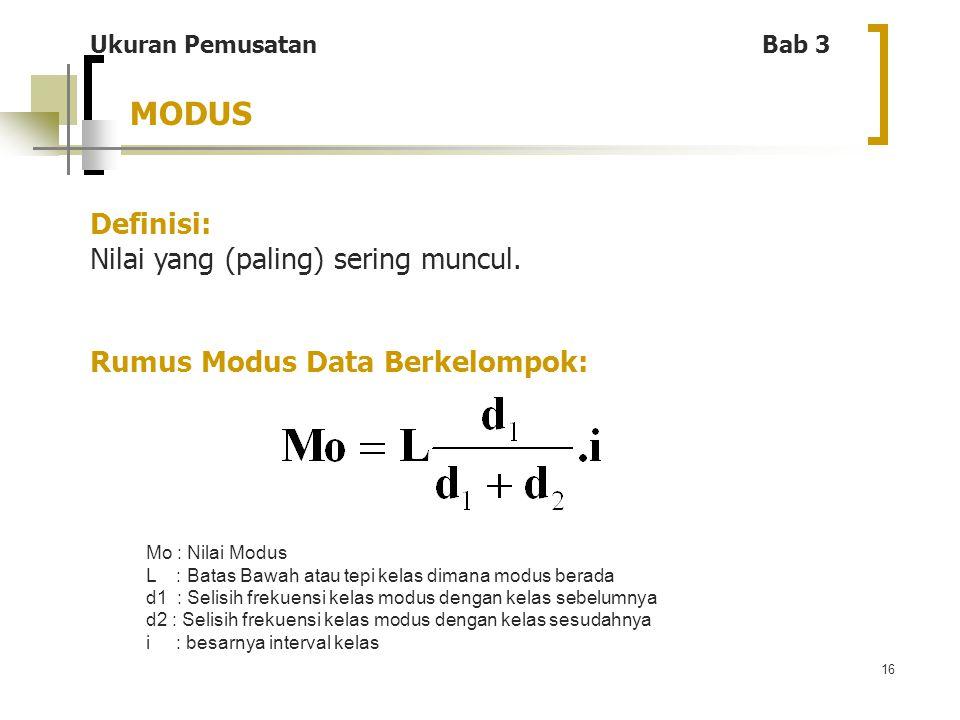 16 MODUS Ukuran Pemusatan Bab 3 Definisi: Nilai yang (paling) sering muncul. Rumus Modus Data Berkelompok: Mo : Nilai Modus L : Batas Bawah atau tepi