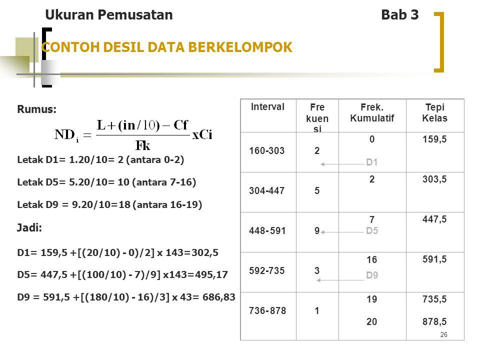 26 CONTOH DESIL DATA BERKELOMPOK Rumus: Letak D1= 1.20/10= 2 (antara 0-2) Letak D5= 5.20/10= 10 (antara 7-16) Letak D9 = 9.20/10=18 (antara 16-19) Jad