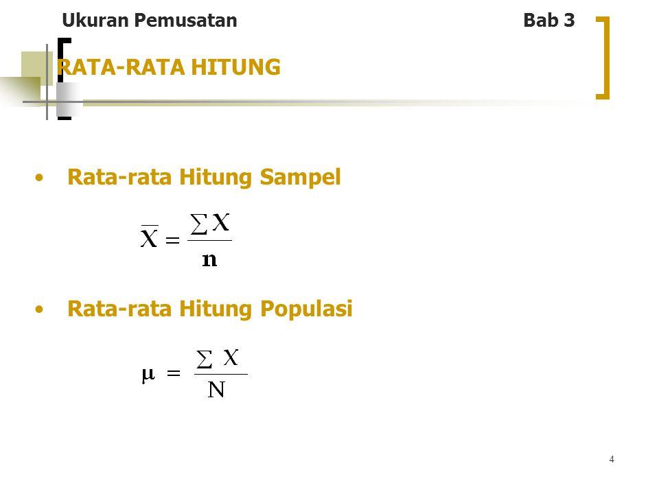 4 RATA-RATA HITUNG Rata-rata Hitung Sampel Rata-rata Hitung Populasi Ukuran Pemusatan Bab 3