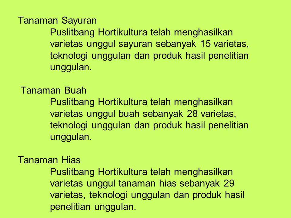 Tanaman Sayuran Puslitbang Hortikultura telah menghasilkan varietas unggul sayuran sebanyak 15 varietas, teknologi unggulan dan produk hasil penelitian unggulan.