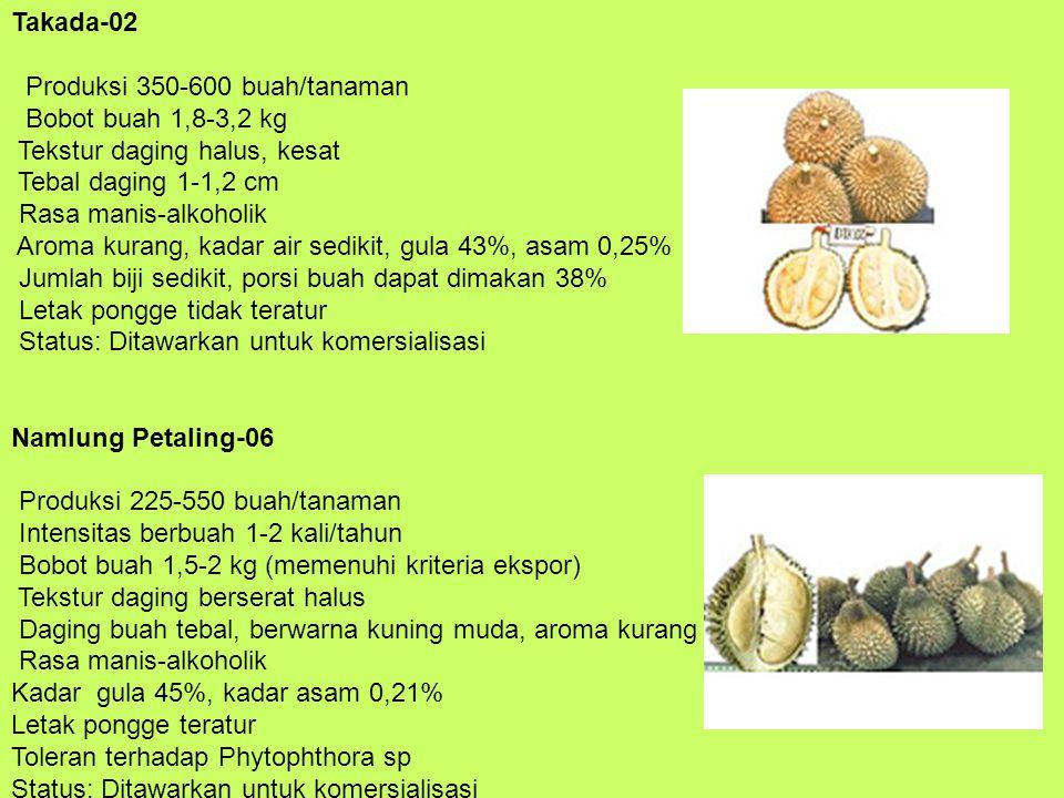 Takada-02 Produksi 350-600 buah/tanaman Bobot buah 1,8-3,2 kg Tekstur daging halus, kesat Tebal daging 1-1,2 cm Rasa manis-alkoholik Aroma kurang, kad