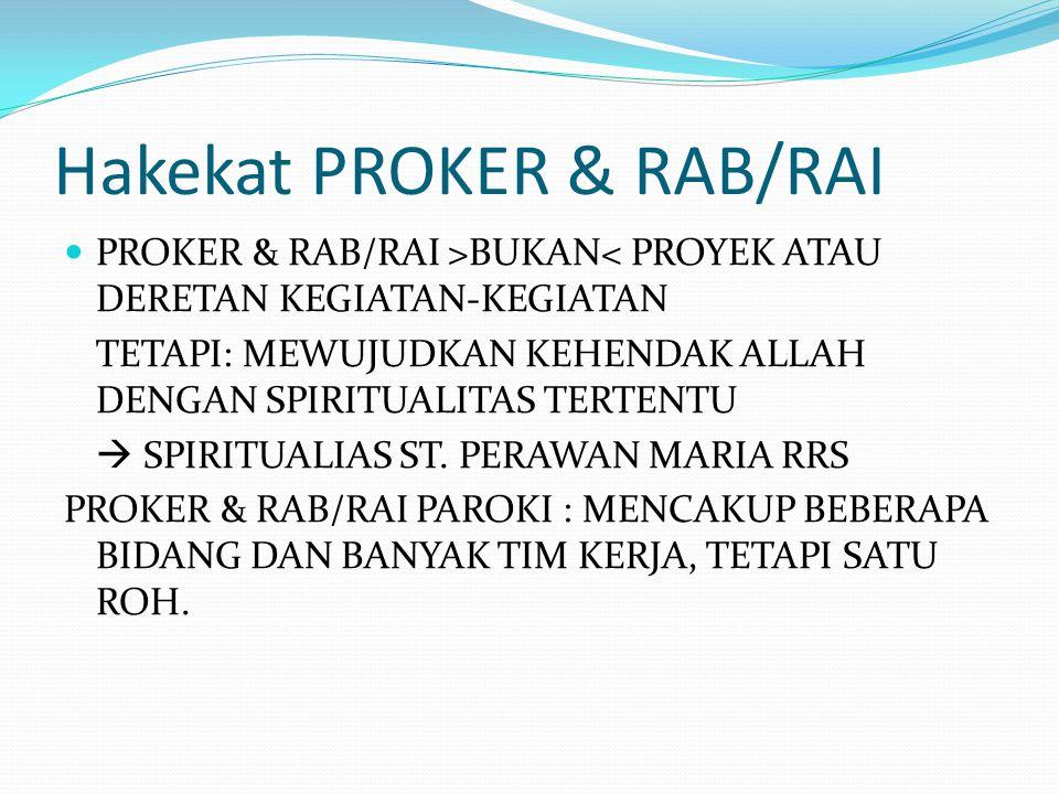 Hakekat PROKER & RAB/RAI PROKER & RAB/RAI >BUKAN< PROYEK ATAU DERETAN KEGIATAN-KEGIATAN TETAPI: MEWUJUDKAN KEHENDAK ALLAH DENGAN SPIRITUALITAS TERTENT