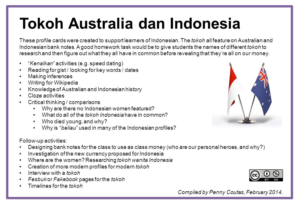 Tokoh Australia dan Indonesia These profile cards were created to support learners of Indonesian. The tokoh all feature on Australian and Indonesian b