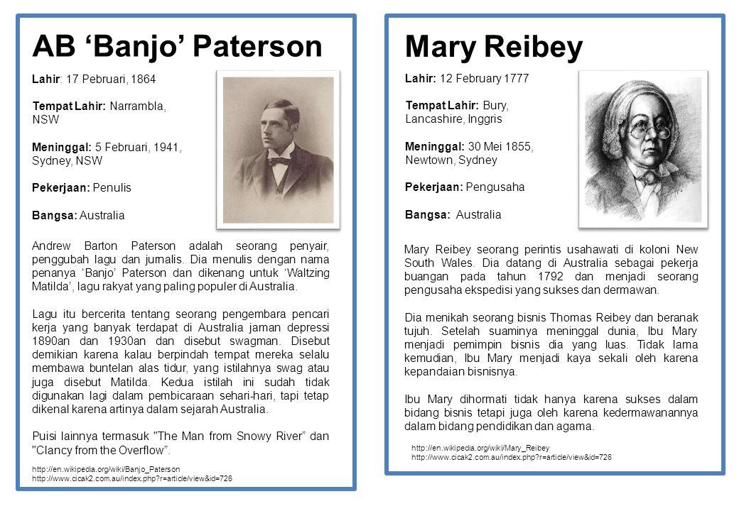 AB 'Banjo' Paterson Lahir: 17 Pebruari, 1864 Tempat Lahir: Narrambla, NSW Meninggal: 5 Februari, 1941, Sydney, NSW Pekerjaan: Penulis Bangsa: Australi