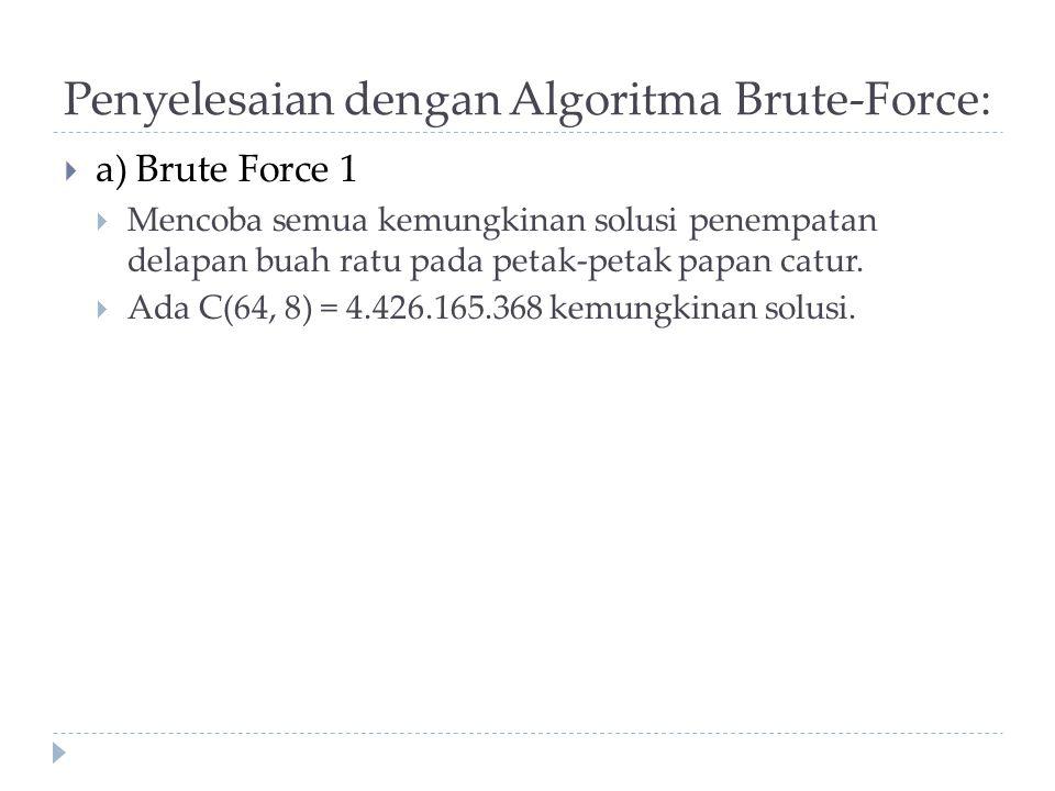 Penyelesaian dengan Algoritma Brute-Force:  a) Brute Force 1  Mencoba semua kemungkinan solusi penempatan delapan buah ratu pada petak-petak papan c