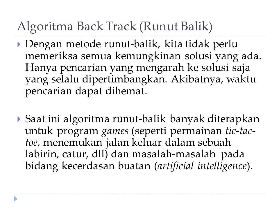 Algoritma Back Track (Runut Balik)  Dengan metode runut-balik, kita tidak perlu memeriksa semua kemungkinan solusi yang ada.