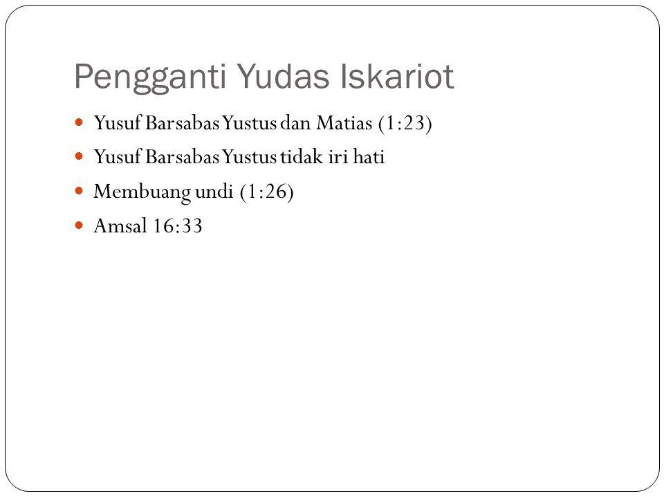 Pengganti Yudas Iskariot Yusuf Barsabas Yustus dan Matias (1:23) Yusuf Barsabas Yustus tidak iri hati Membuang undi (1:26) Amsal 16:33