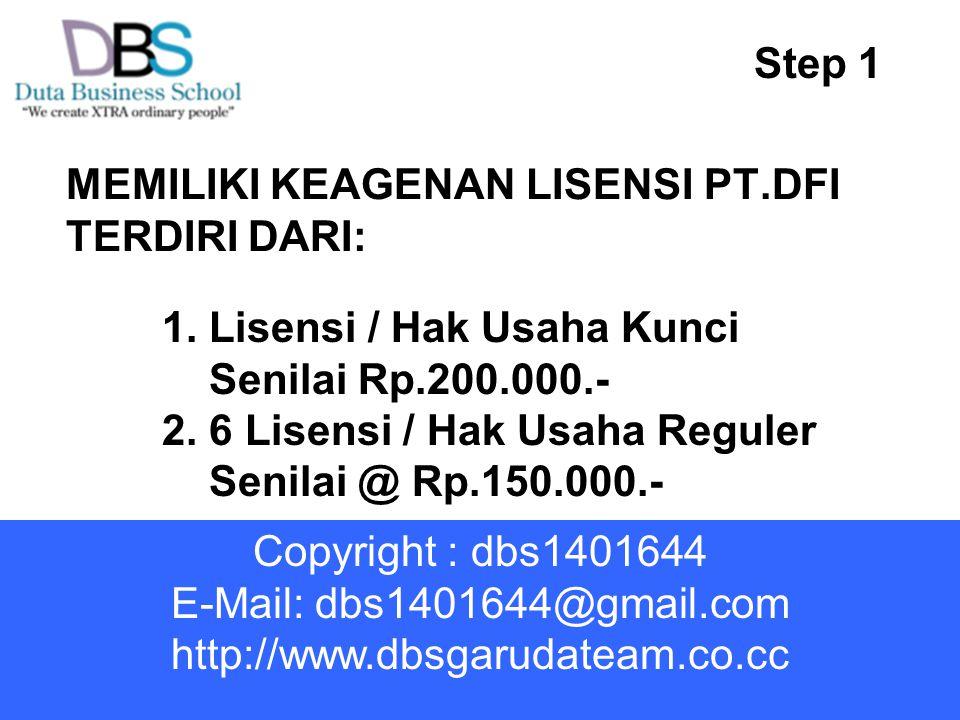 MEMILIKI KEAGENAN LISENSI PT.DFI TERDIRI DARI: Step 1 1. Lisensi / Hak Usaha Kunci Senilai Rp.200.000.- 2. 6 Lisensi / Hak Usaha Reguler Senilai @ Rp.