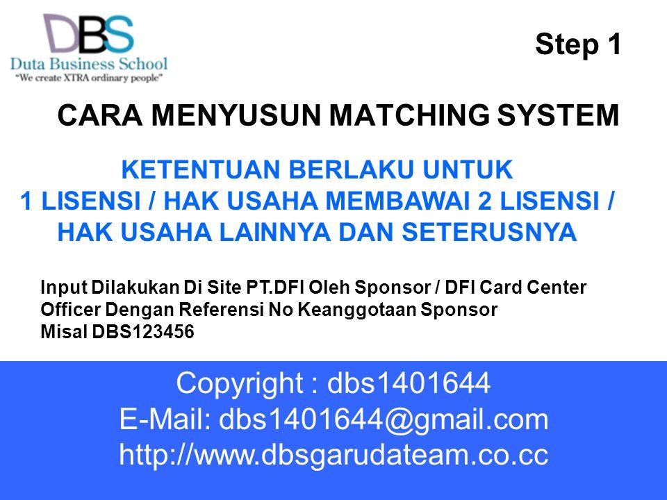 CARA MENYUSUN MATCHING SYSTEM Step 1 KETENTUAN BERLAKU UNTUK 1 LISENSI / HAK USAHA MEMBAWAI 2 LISENSI / HAK USAHA LAINNYA DAN SETERUSNYA Input Dilakukan Di Site PT.DFI Oleh Sponsor / DFI Card Center Officer Dengan Referensi No Keanggotaan Sponsor Misal DBS123456 Copyright : dbs1401644 E-Mail: dbs1401644@gmail.com http://www.dbsgarudateam.co.cc