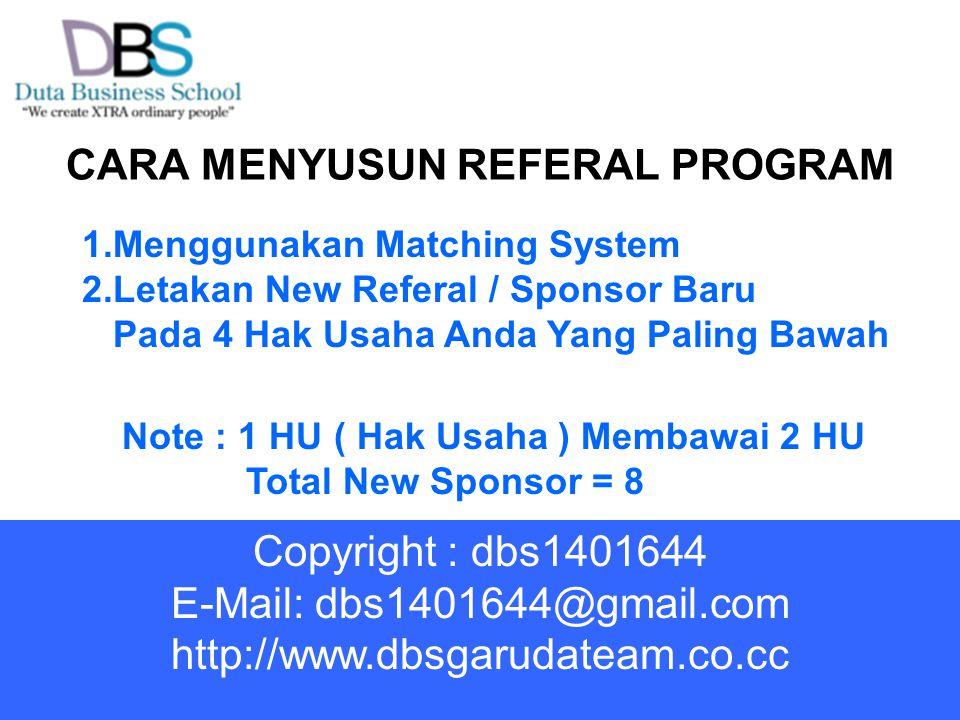 CARA MENYUSUN REFERAL PROGRAM 1.Menggunakan Matching System 2.Letakan New Referal / Sponsor Baru Pada 4 Hak Usaha Anda Yang Paling Bawah Note : 1 HU (
