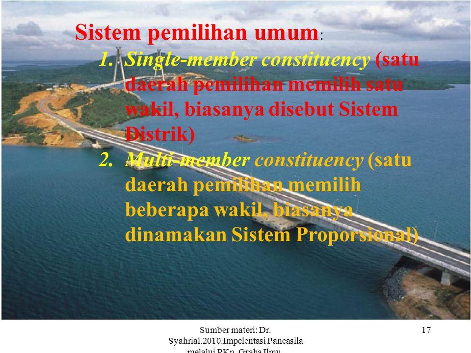 Sumber materi: Dr. Syahrial.2010.Impelentasi Pancasila melalui PKn. Graha Ilmu. Yokyakarta. 17 Sistem pemilihan umum : 1.Single-member constituency (s