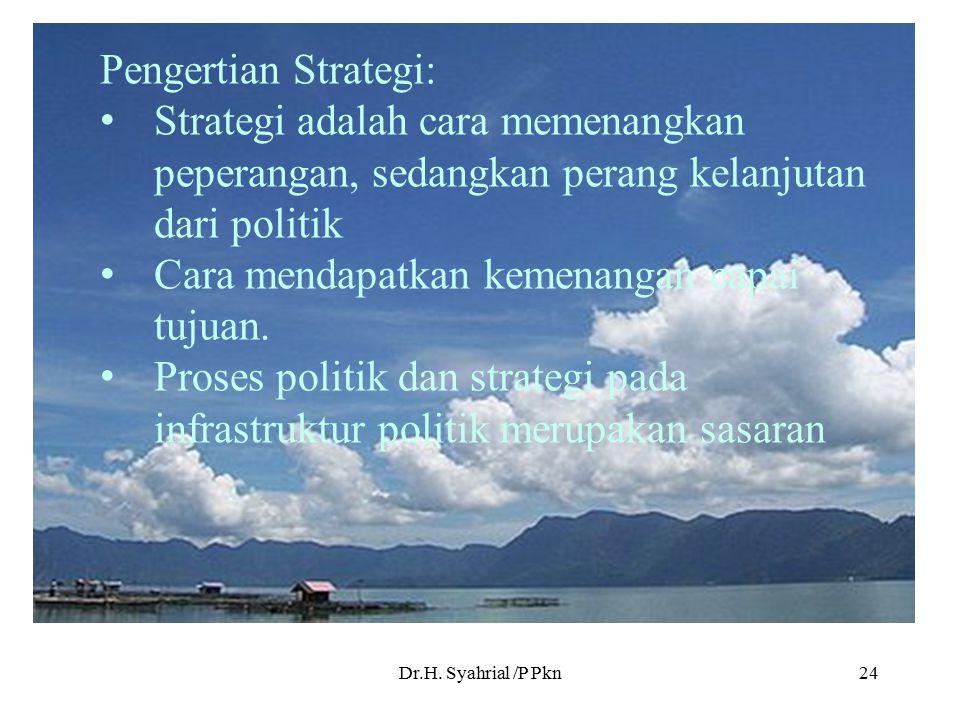 Dr.H. Syahrial /P Pkn24 Pengertian Strategi: Strategi adalah cara memenangkan peperangan, sedangkan perang kelanjutan dari politik Cara mendapatkan ke