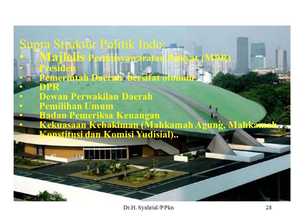 Dr.H. Syahrial /P Pkn28 Supra Struktur Politik Indo: Majlelis Permusyawaratan Rakyat (MPR) Presiden Pemerintah Daerah bersifat otonom DPR Dewan Perwak