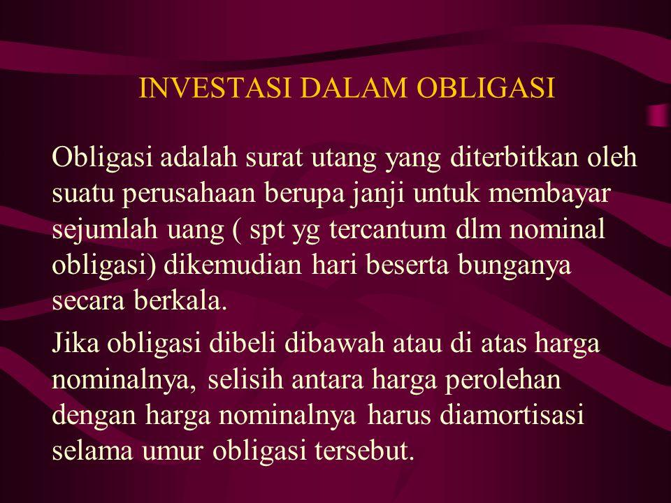 INVESTASI DALAM OBLIGASI Obligasi adalah surat utang yang diterbitkan oleh suatu perusahaan berupa janji untuk membayar sejumlah uang ( spt yg tercant