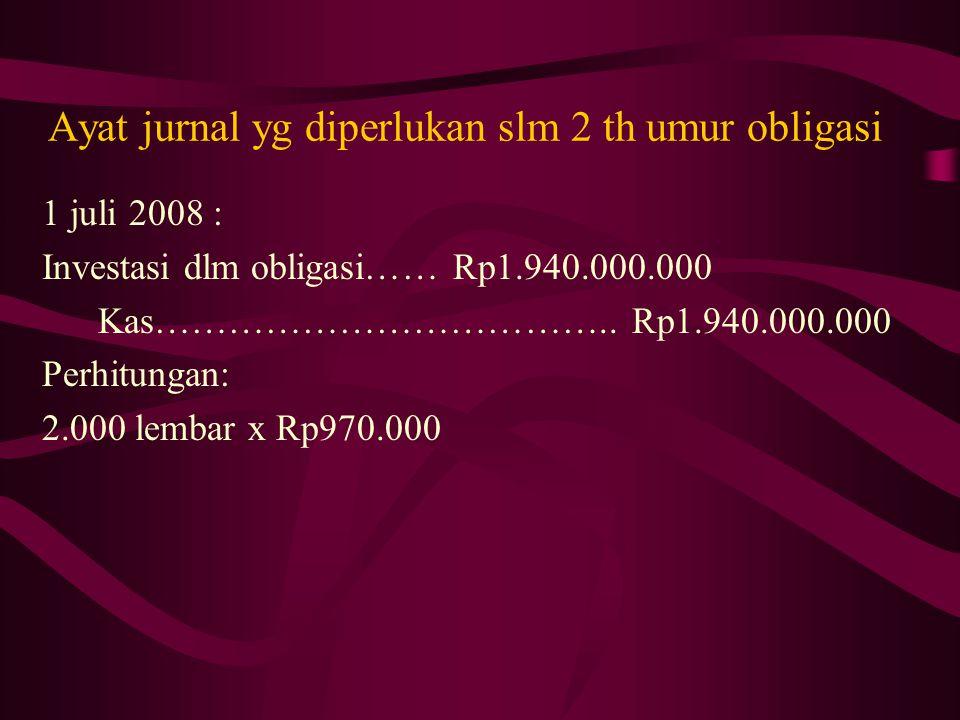 Ayat jurnal yg diperlukan slm 2 th umur obligasi 1 juli 2008 : Investasi dlm obligasi…… Rp1.940.000.000 Kas……………………………….. Rp1.940.000.000 Perhitungan: