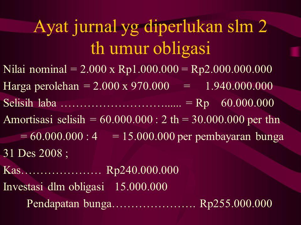 Ayat jurnal yg diperlukan slm 2 th umur obligasi Nilai nominal = 2.000 x Rp1.000.000 = Rp2.000.000.000 Harga perolehan = 2.000 x 970.000 = 1.940.000.0