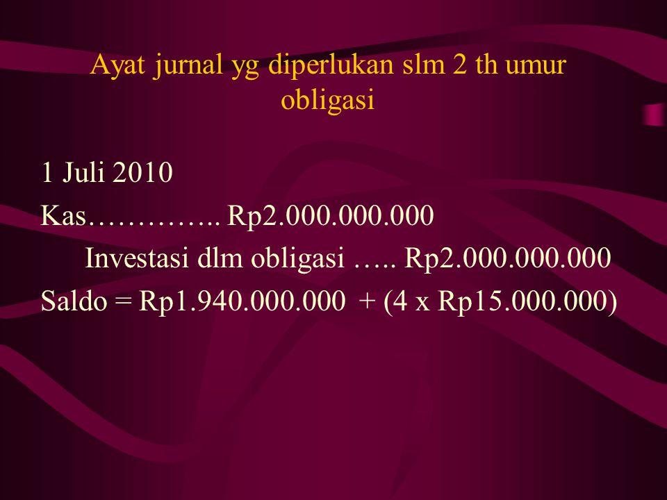 Ayat jurnal yg diperlukan slm 2 th umur obligasi 1 Juli 2010 Kas………….. Rp2.000.000.000 Investasi dlm obligasi ….. Rp2.000.000.000 Saldo = Rp1.940.000.