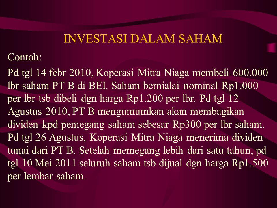 INVESTASI DALAM SAHAM Contoh: Pd tgl 14 febr 2010, Koperasi Mitra Niaga membeli 600.000 lbr saham PT B di BEI. Saham bernialai nominal Rp1.000 per lbr