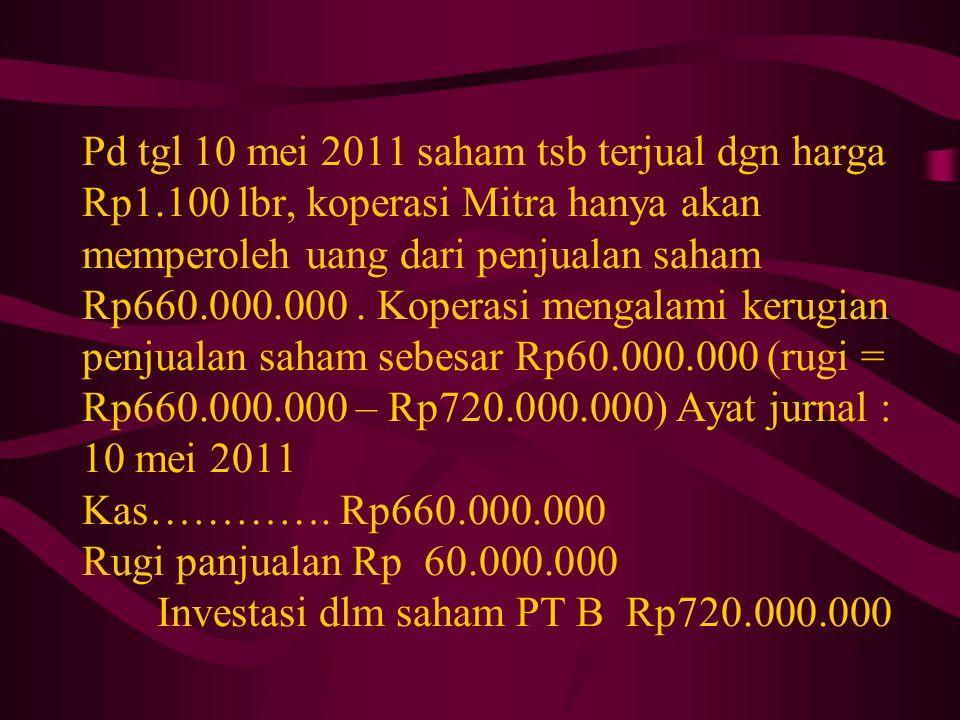 Pd tgl 10 mei 2011 saham tsb terjual dgn harga Rp1.100 lbr, koperasi Mitra hanya akan memperoleh uang dari penjualan saham Rp660.000.000. Koperasi men