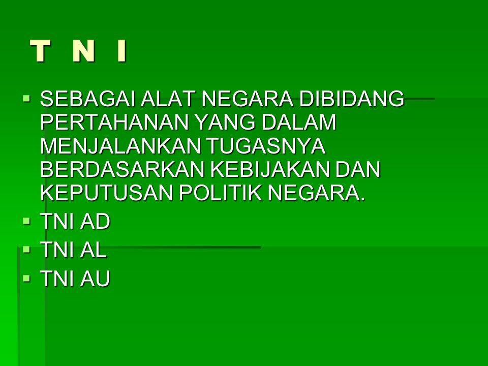 T N I  SEBAGAI ALAT NEGARA DIBIDANG PERTAHANAN YANG DALAM MENJALANKAN TUGASNYA BERDASARKAN KEBIJAKAN DAN KEPUTUSAN POLITIK NEGARA.  TNI AD  TNI AL