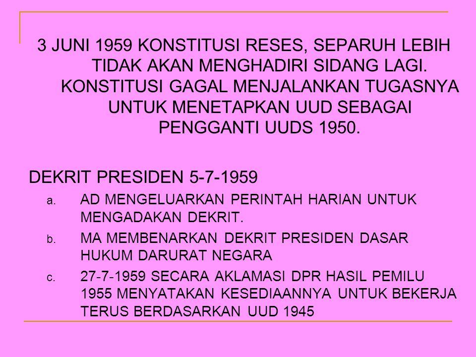 3 JUNI 1959 KONSTITUSI RESES, SEPARUH LEBIH TIDAK AKAN MENGHADIRI SIDANG LAGI. KONSTITUSI GAGAL MENJALANKAN TUGASNYA UNTUK MENETAPKAN UUD SEBAGAI PENG
