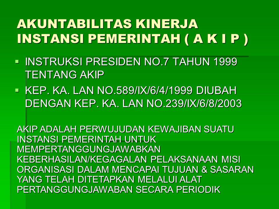 AKUNTABILITAS KINERJA INSTANSI PEMERINTAH ( A K I P )  INSTRUKSI PRESIDEN NO.7 TAHUN 1999 TENTANG AKIP  KEP. KA. LAN NO.589/IX/6/4/1999 DIUBAH DENGA