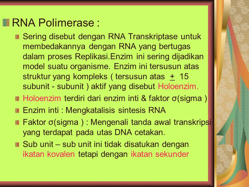 RNA Polimerase : Sering disebut dengan RNA Transkriptase untuk membedakannya dengan RNA yang bertugas dalam proses Replikasi.Enzim ini sering dijadika