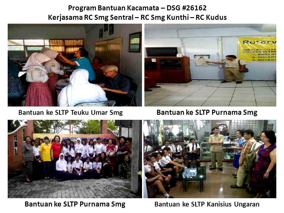 Program Bantuan Kacamata – DSG #26162 Kerjasama RC Smg Sentral – RC Smg Kunthi – RC Kudus Bantuan ke SLTP Teuku Umar Smg Bantuan ke SLTP Purnama Smg B