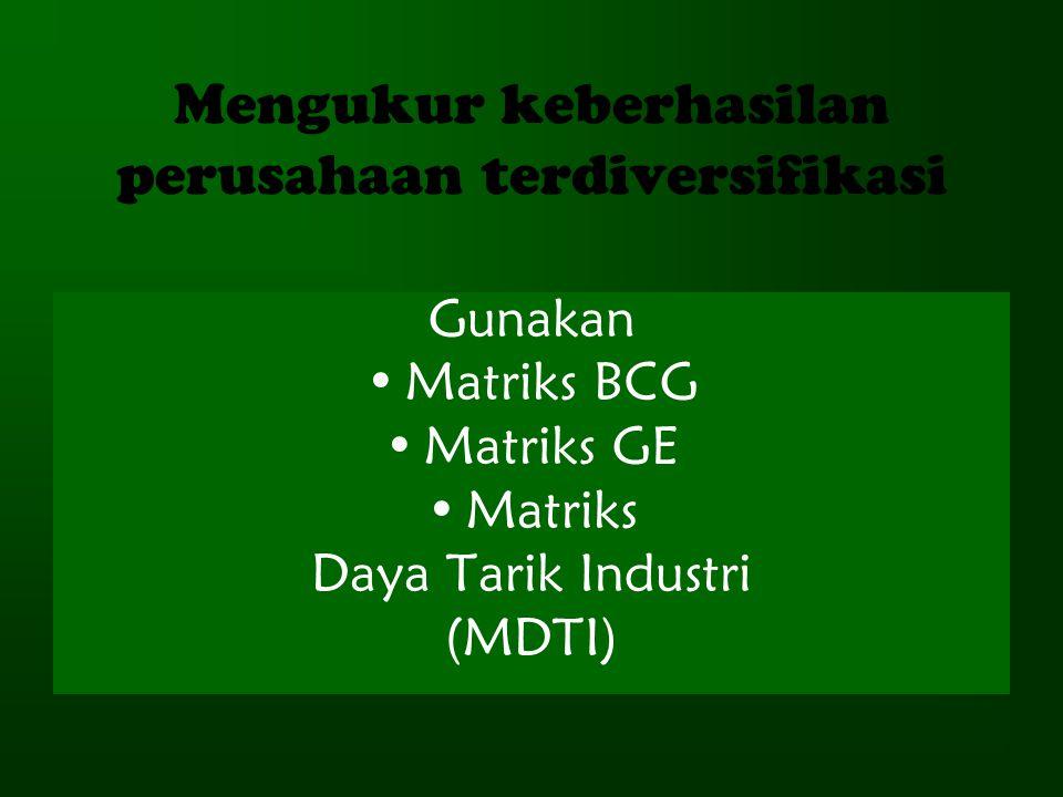 Mengukur keberhasilan perusahaan terdiversifikasi Gunakan Matriks BCG Matriks GE Matriks Daya Tarik Industri (MDTI)