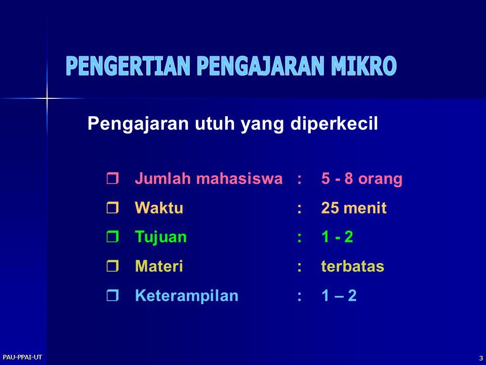PAU-PPAI-UT 3 Pengajaran utuh yang diperkecil  Jumlah mahasiswa:5 - 8 orang  Waktu:25 menit  Tujuan:1 - 2  Materi:terbatas  Keterampilan:1 – 2