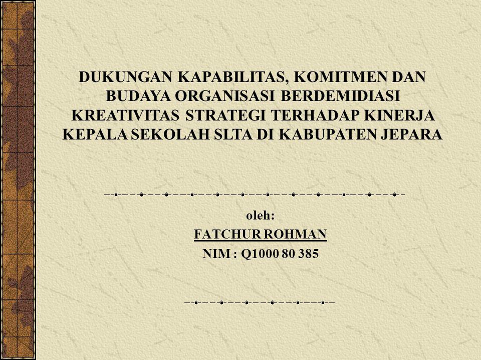 oleh: FATCHUR ROHMAN NIM : Q1000 80 385 DUKUNGAN KAPABILITAS, KOMITMEN DAN BUDAYA ORGANISASI BERDEMIDIASI KREATIVITAS STRATEGI TERHADAP KINERJA KEPALA
