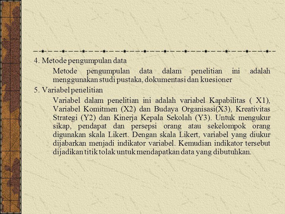 4. Metode pengumpulan data Metode pengumpulan data dalam penelitian ini adalah menggunakan studi pustaka, dokumentasi dan kuesioner 5. Variabel peneli