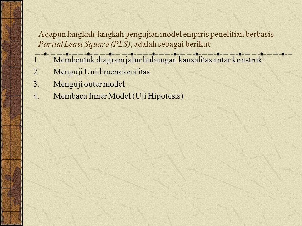 Adapun langkah-langkah pengujian model empiris penelitian berbasis Partial Least Square (PLS), adalah sebagai berikut: 1.Membentuk diagram jalur hubun