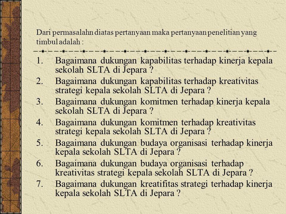 1.Bagaimana dukungan kapabilitas terhadap kinerja kepala sekolah SLTA di Jepara ? 2.Bagaimana dukungan kapabilitas terhadap kreativitas strategi kepal