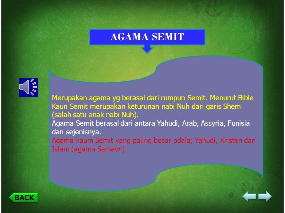 BACK E. MACAM-MACAM AGAMA Menurut: Dr. Zakir Naik SEMITNON SEMIT NON ARYAARYA