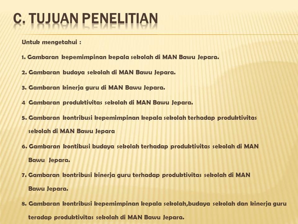 Untuk mengetahui : 1. Gambaran kepemimpinan kepala sekolah di MAN Bawu Jepara. 2. Gambaran budaya sekolah di MAN Bawu Jepara. 3. Gambaran kinerja guru