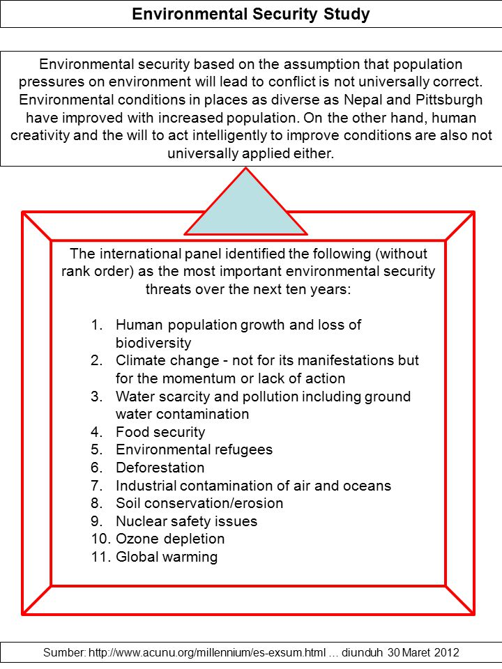 Environmental Security Study Environmental security based on the assumption that population pressures on environment will lead to conflict is not univ